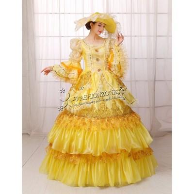 カラードレス演奏会長袖 ヨーロッパ 宮廷服 帽子 プリンセス 貴族風パーティードレス披露宴ステージ衣装豪華ウェディングドレス洋風ドレス