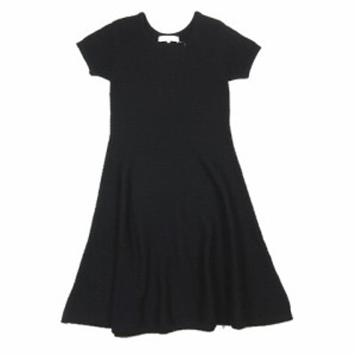 【中古】エムプルミエ M-Premier Aライン ニット ワンピース 半袖 ミドルゲージ セーター カットソー 36 黒 ブラック