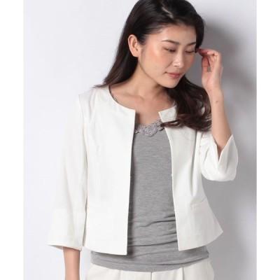 【カールパークレーン】オックスノーカラー七分袖ジャケット