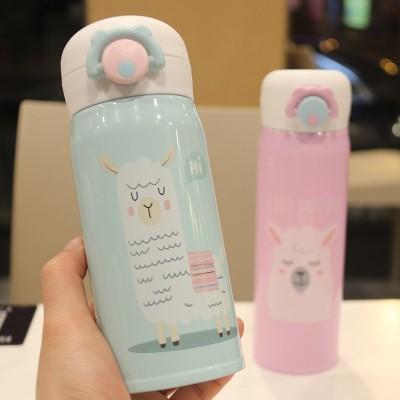 真空カップの女の子の学生韓国の漫画かわいい妖精の爆弾カバーストレート飲料カップポータブル