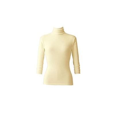 天使の綿シフォン レディースハイネック-7分袖 16色 (M, クリーム)