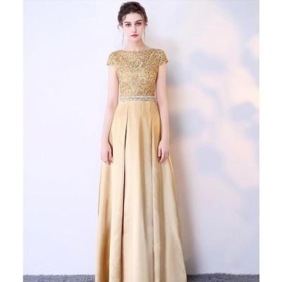 chic レース 花柄 透け感 金色 上品 パーティードレス イブニングドレス  ロング丈 半袖 ファスナー 大きいサイズ 披露宴 結婚式 20代30代40代