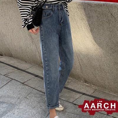 大きいサイズ デニム デニムパンツ レディース ファッション ぽっちゃり おおきいサイズ あり ルーズフィット ストレート 色落ち加工 M L LL 3L 4L 5L  春夏