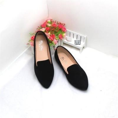 \店長推薦/レディース シューズ 全6色 パンプス ローヒールポインテッドトゥ 歩きやすい 痛くない フラット スエード 大きいサイズ 婦人靴 通勤