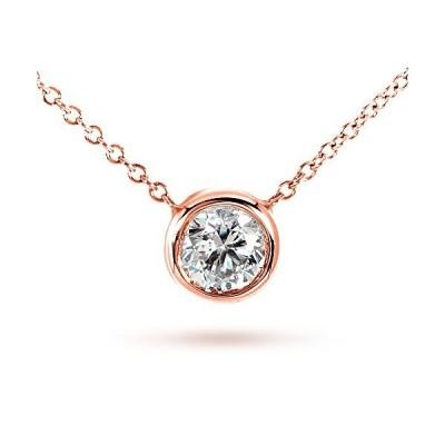 Kobelli Round Moissanite Bezel Necklace 1/2 Carat 14k Rose Gold