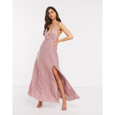 エイソス レディース ワンピース トップス ASOS DESIGN knot strap pleated maxi dress in rose