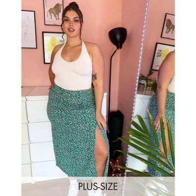 エイソス ASOS DESIGN レディース ひざ丈スカート スカート Curve midi skirt with thigh split in floral print フローラル