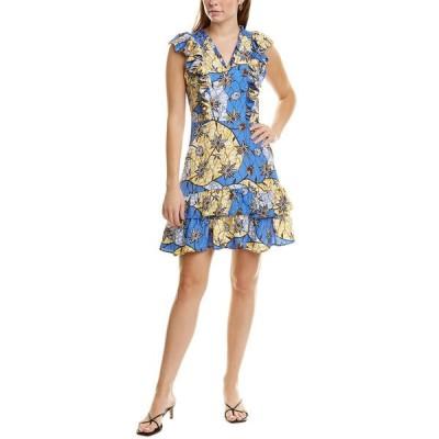 ワーム ワンピース トップス レディース warm Brianna Silk Mini Dress blue/yellow multicolor