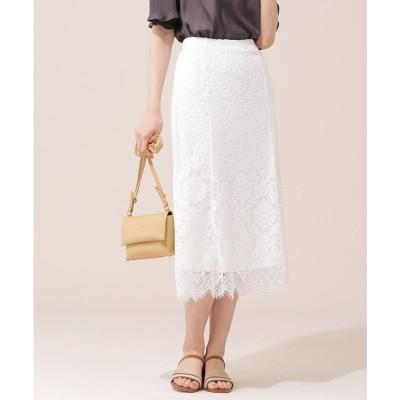 WEB限定/ヘムフレアレーススカート オフホワイト1