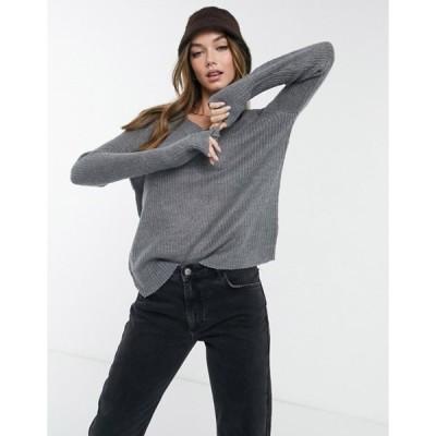 ブレーブソウル レディース ニット・セーター アウター Brave Soul max v-neck sweater in gray