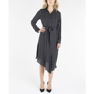 ナネットレポー ワンピース トップス レディース Long Sleeve Dress with Collar and Asymmetrical Hemline Black