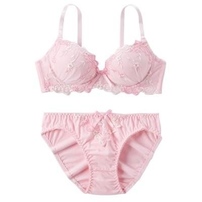 綿混 ドリーミーリボン ノンワイヤーブラジャー。ショーツセット(M) (ブラジャー&ショーツセット)Bras & Panties