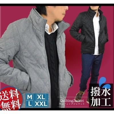 キルティングジャケット メンズ ジャケット はおり 大きいサイズ あり 撥水加工 中綿 キルティングコート キルトコート スタンドカラー 防寒 防風 秋 冬