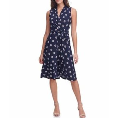トミー ヒルフィガー レディース ワンピース トップス Floral Jersey Fit & Flare Faux Wrap Dress Sky Captain/Rosette