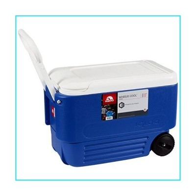 Ice - Cooler 38 Quart Rolling Ice Chest With Wheels. This Ice Box Is The Best Way To Keep Food, Beer & Drinks Cool For Outdoor Party, Campin
