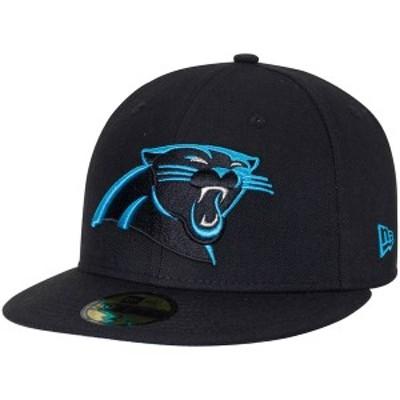 ニューエラ メンズ 帽子 アクセサリー Carolina Panthers New Era Omaha 59FIFTY Fitted Hat Black
