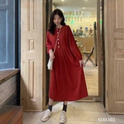 ワンピース レディース 長袖 白 レディース  ワンピース  森ガール レトロ 体型カバー 呼ばれ 韓国風 オシャレ 半袖 春 ロング丈 ゆっ