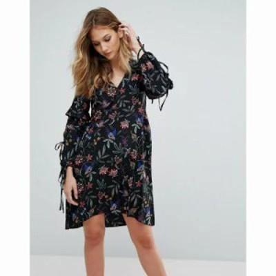 ヴェロモーダ ワンピース Vero Moda Floral Cold Shoulder Dress Black