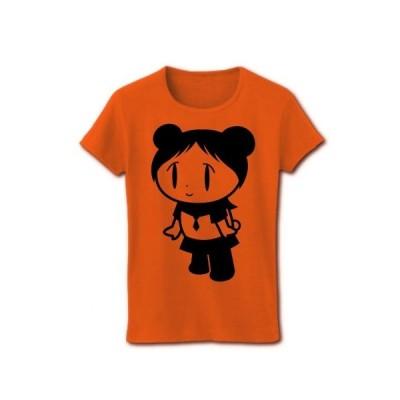 パンダ少女 リブクルーネックTシャツ(オレンジ)