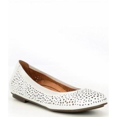バイオニック レディース パンプス シューズ Robyn Perforated Leather Ballet Flats White