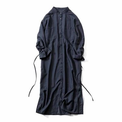 シアー素材のストライプロングシャツドレス〈ネイビー〉 IEDIT[イディット] フェリシモ FELISSIMO