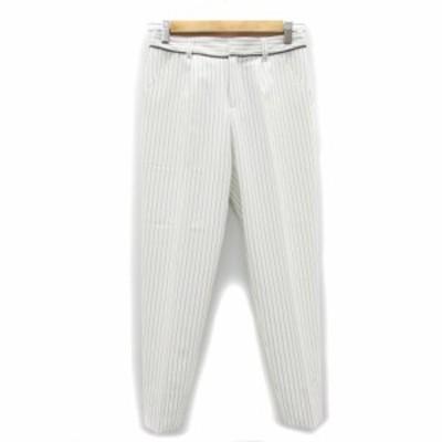 【中古】ビッキー VICKY パンツ スラックス テーパード アンクル丈 ストライプ柄 0 ホワイト 白 /MS7 レディース