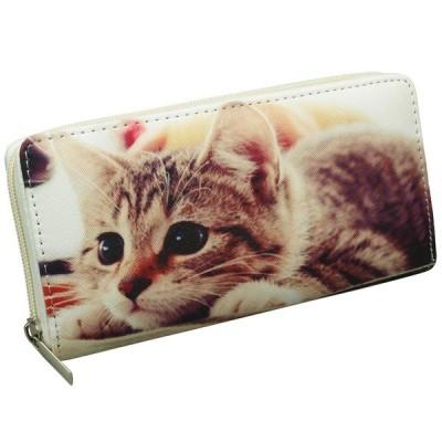 ラウンドファスナー 長財布 猫 ねこ かわいい おしゃれ 人気 女の子 女子 ピクチャープリント(レディース 女性)キュートで可愛い猫ちゃんのロングウォレット