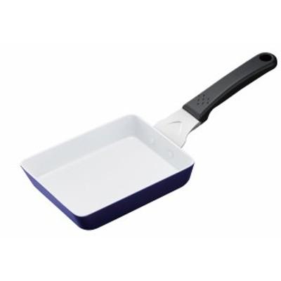 京セラ 卵焼き フライパン セラミック 塗膜加工 13×18cm ホワイトブルー IH対応 セラブリッド Kyocera CF-EB-WBU