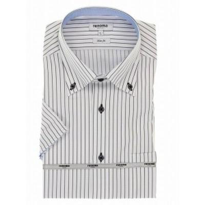 タカキュー(TAKA-Q)/アイスカプセル形態安定スリムフィット ボタンダウン半袖ビジネスドレスシャツ/ワイシャツ