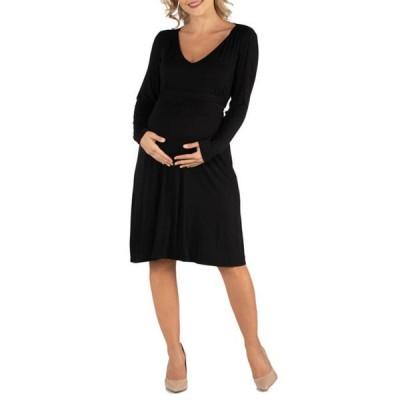 24セブンコンフォート レディース ワンピース トップス Maternity V Neck Long Sleeve Professional Dress