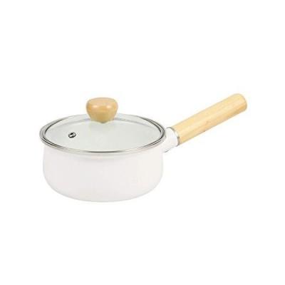 パール金属 片手鍋 15cm IH対応 ホーローガラス蓋 ホワイト ジャストサイズ HB-4395