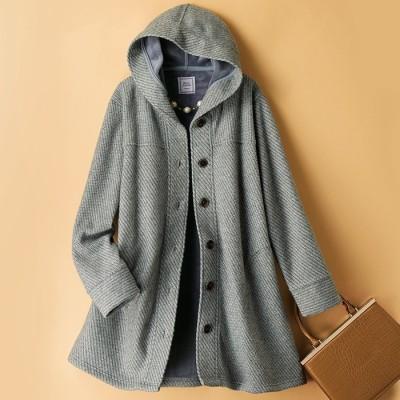 ベルーナ 裏ベロア暖かパーカーコート 杢グレー LL レディース