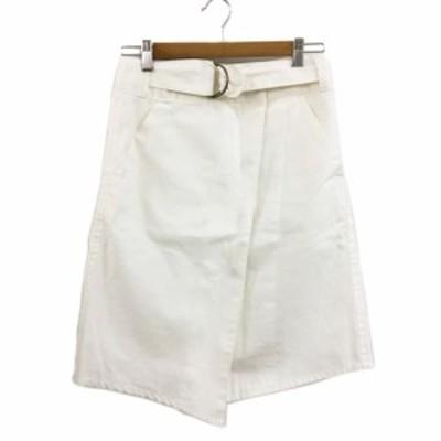 【中古】ミスティック mystic スカート 台形 ひざ丈 ラップ 巻きスカート 無地 1 白 ホワイト レディース