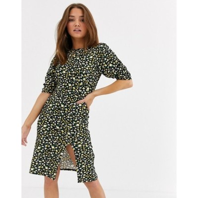 ウェンズデーガール レディース ワンピース トップス Wednesday's Girl puff sleeve tea dress in vintage floral