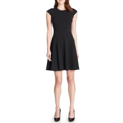 トミー ヒルフィガー レディース ワンピース トップス Scuba Crepe Fit & Flare Cap Sleeve Dress Black