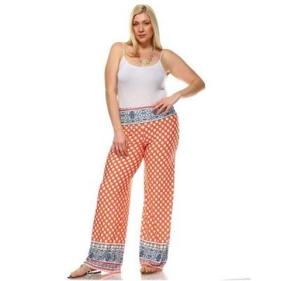 ホワイトマーク カジュアルパンツ ボトムス レディース Plus Size Printed Palazzo Pants Light Orange