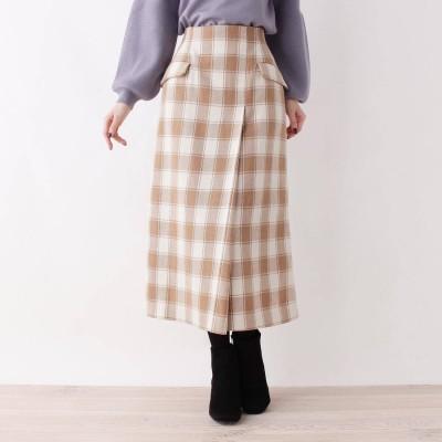 BEAUTE DE OPAQUE 【洗える】ビックチェックWポケットタイトスカート (ベージュ)