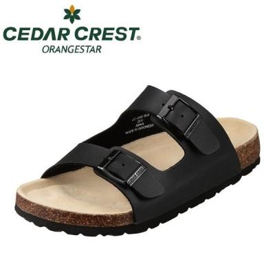 セダークレストセダークレスト オレンジスター CEDAR CREST CC-2101 レディース | カジュアルサンダル | 2本ベルト | ブラック