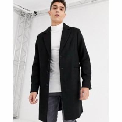 エイソス ASOS DESIGN メンズ コート アウター wool mix overcoat in black ブラック