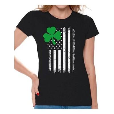 レディース 衣類 トップス Awkward Styles Irish American Shirt St. Patrick's Day T-Shirts for Women Shamrock Green Irish American Clover Gif