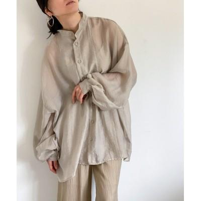 シャツ ブラウス シアータキシードヨークオーバーサイズシャツ