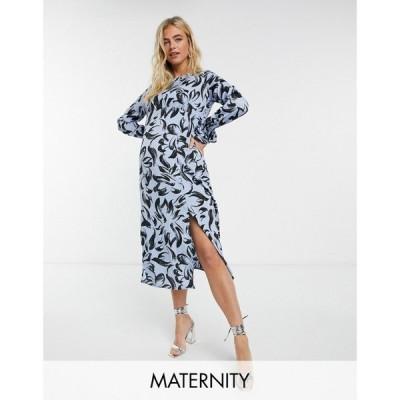 インフルエンス Influence Maternity レディース ワンピース ミドル丈 ワンピース・ドレス abstract print midi dress in cornflower blue ブルー/ブラック