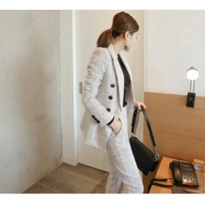 セットアップ パンツスーツ ジャケット キレイめ 通勤 オフィス オシャレ こなれ シンプル ツーピース チェック