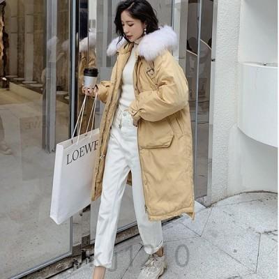 ダウンコートレディース秋冬アウターロング丈大きいサイズコートダウンジャケットダウン風コートフード付き厚手暖かい可愛い冬新作ファッション