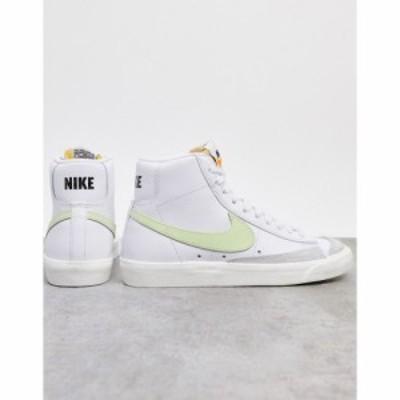 ナイキ Nike レディース スニーカー シューズ・靴 Blazer Mid 77 trainers in white and fluro green ホワイト