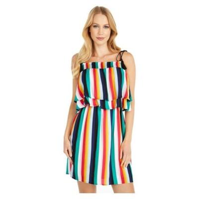 ジャック バイ ビービーダコタ レディース ワンピース トップス Rainbow Stripe Printed Rayon Crepe Layered Dress with Shoulder Ties