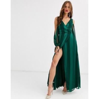 エイソス レディース ワンピース トップス ASOS DESIGN open sleeve burnout stripe maxi dress