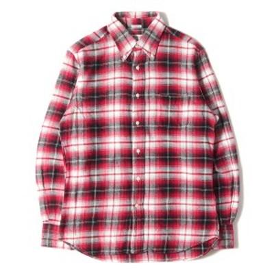 INDIVIDUALIZED SHIRTS インディビジュアライズドシャツ シャツ オンブレチェック ボタンダウン フランネルシャツ アメリカ製 レッド 15-