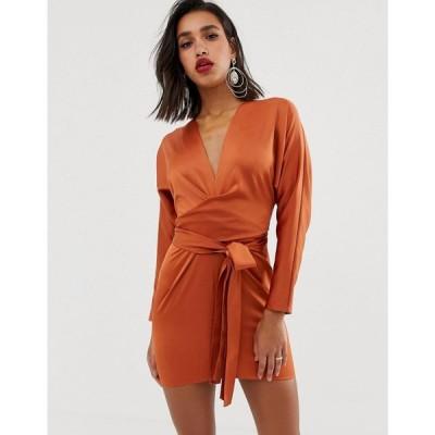 エイソス ASOS DESIGN レディース ワンピース ワンピース・ドレス mini dress with batwing sleeve and wrap waist in satin Summer rust