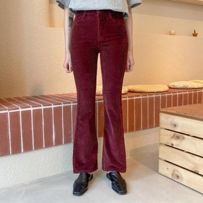 VANILLAMILK レディース パンツ Two button corduroy slim Flared trousers